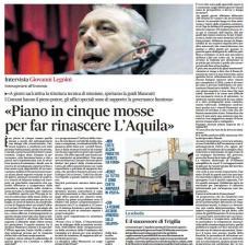 """Intervista al Messaggero: """"Piano in cinque mosse per far rinascere l'Aquila"""""""
